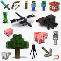 3d minecraft set torch model