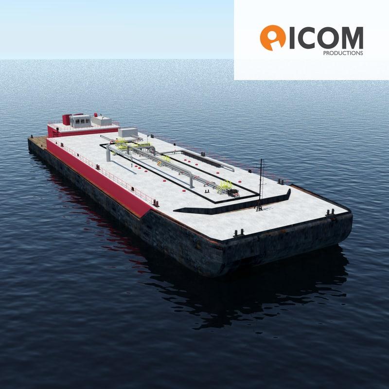 3d huge barge model