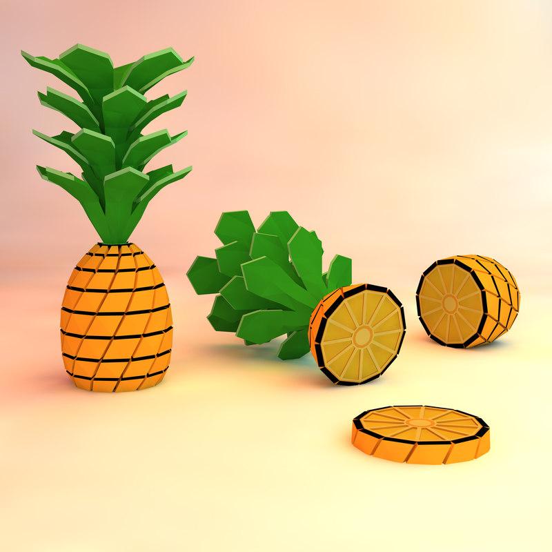 3d pineapple asset model