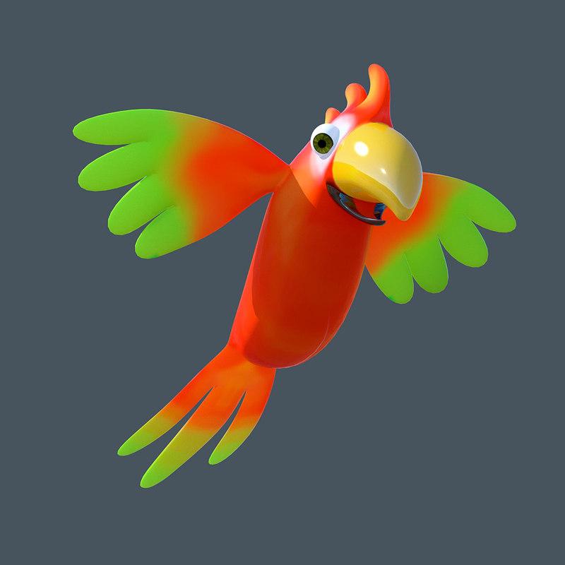 cartoon parrot toon obj