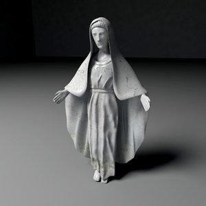 3d virgin mary statue