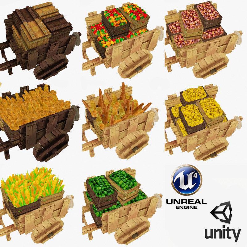 diffuse wooden cart polys 3d model
