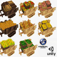 Diffuse Only Low Poly Wooden Carts and Crates Collection