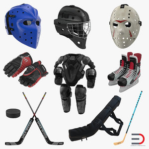 hockey equipment 3 puck obj
