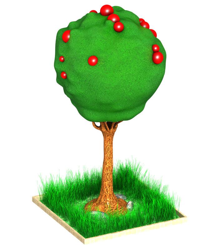 3d tree cartoon art