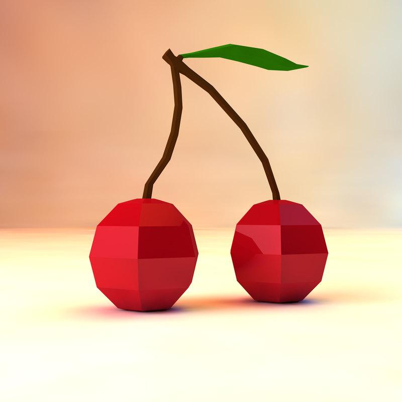 3d cherries asset