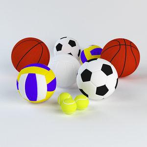 sports ball set 3d model