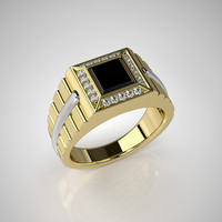 Mens ring model with black onyx 002