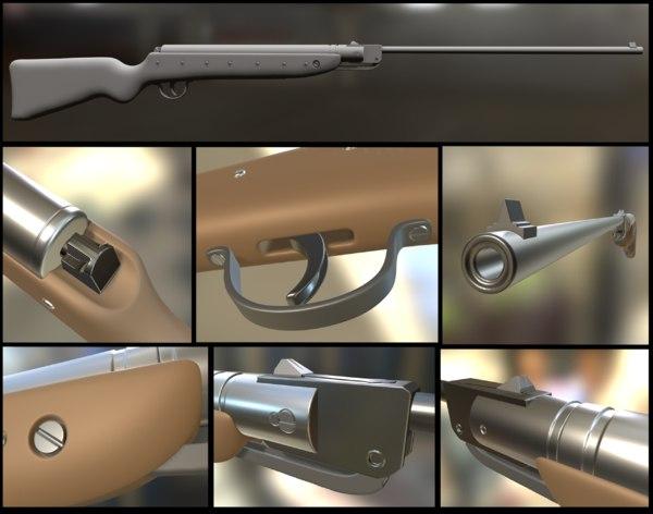 3d model airgun haenel iii-56 knicker