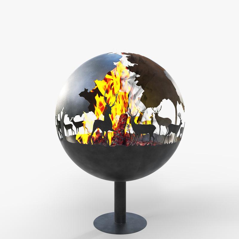 fireplace bonfire corona 3d model