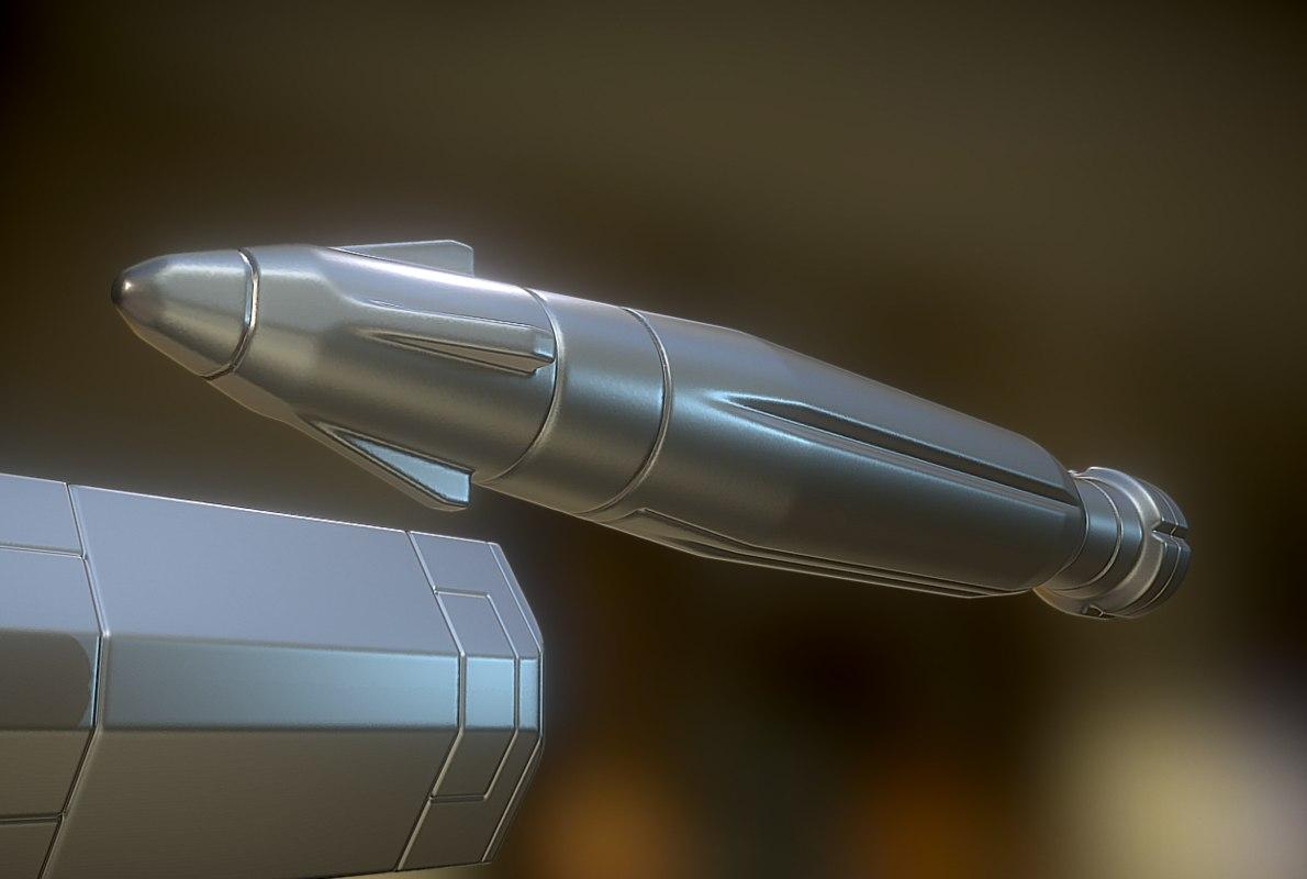 3d rocket battery model
