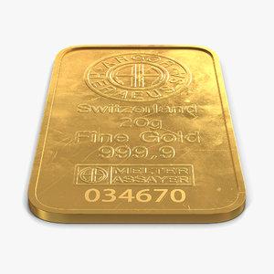 gold bar 20g 3d c4d