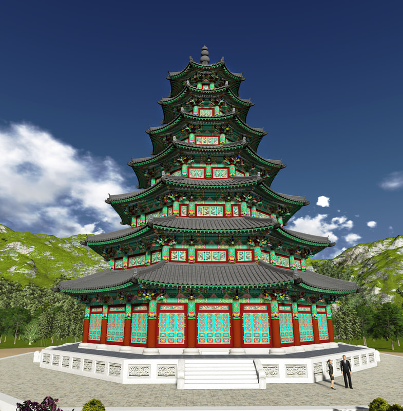 korean octagonal 3d model