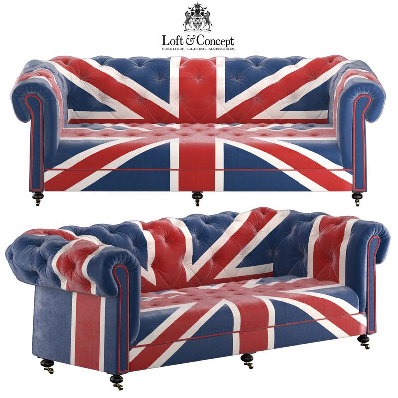 3d model of william sofa union jack