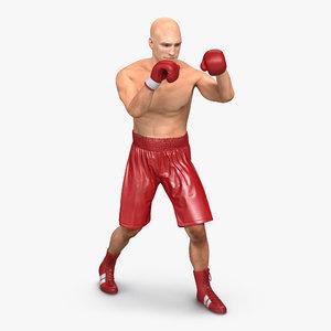 3d model boxer man rigged 2