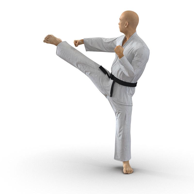 3d japanese karate fighter pose