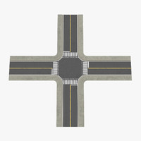 2 lane street intersection c4d