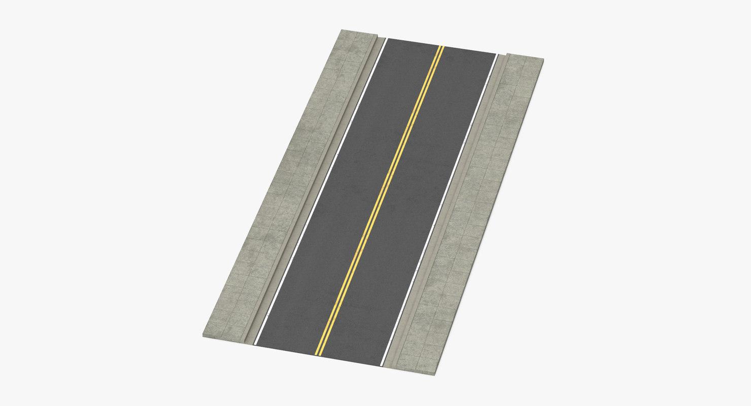 2 lane street straight 3d max