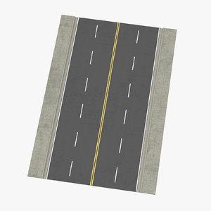 4 lane street straight 3d model