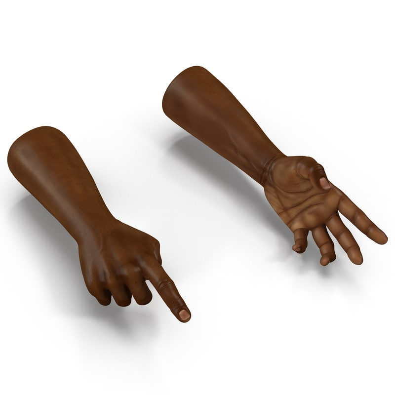 3d model african man hands rigged