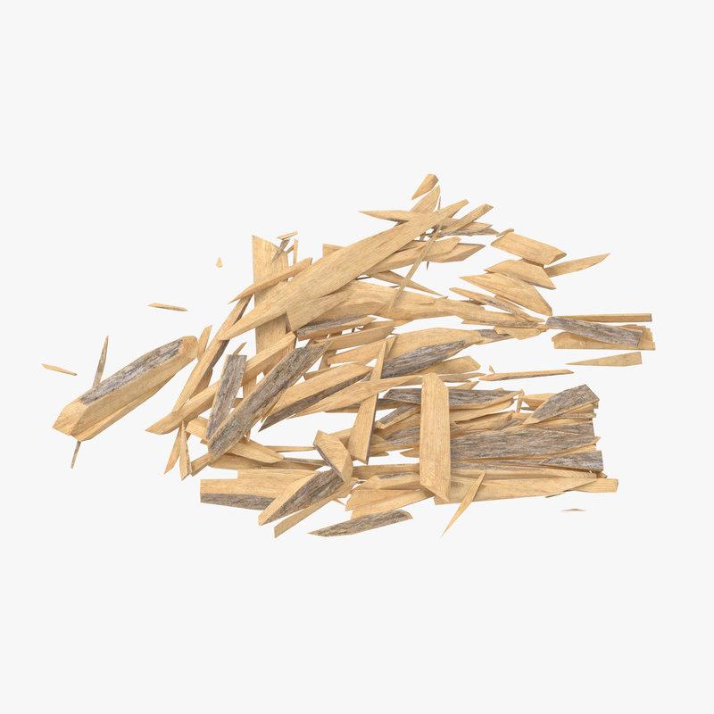 3d splintered wood