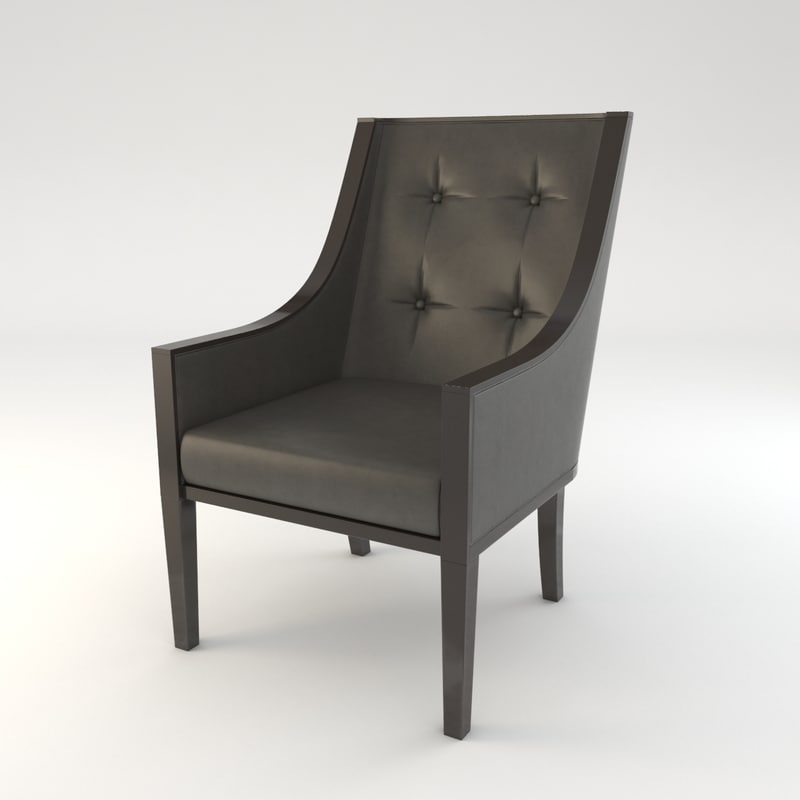 3d black leather chair model
