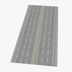 3d 6 lane highway straight