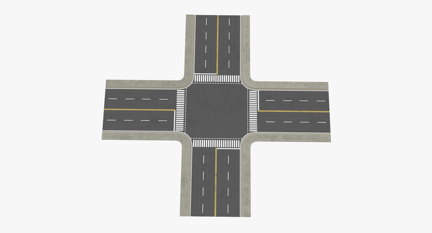 4 lane street intersection 3d obj