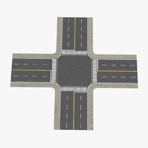4 lane street intersection 3d obj