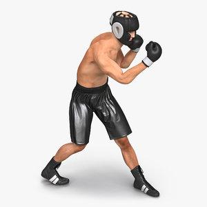 3d model adult boxer man rigged