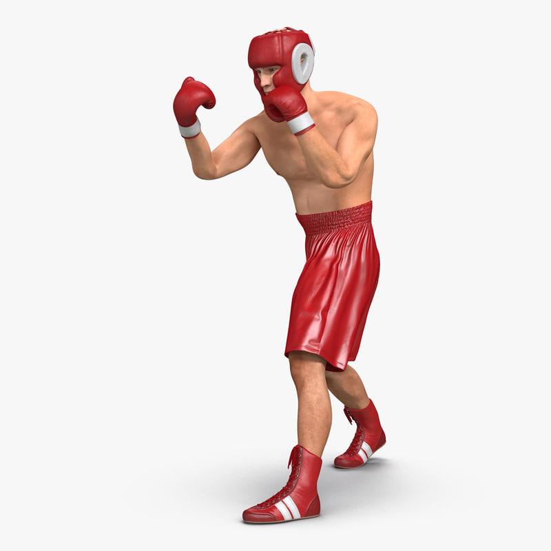 3d model boxer man rigged