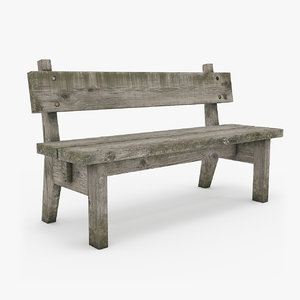 3d old bench