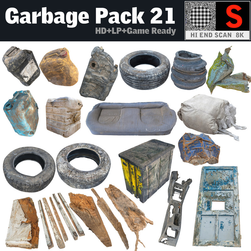 canister garbage pack 21 3d model