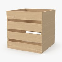square wooden crate 3d model