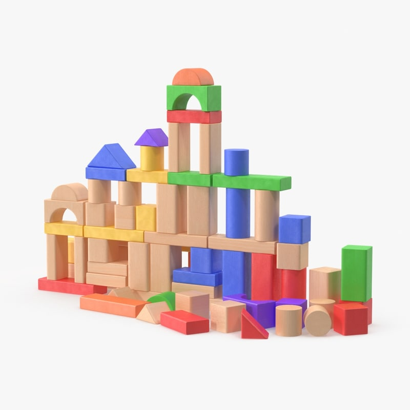 3d model of baby building blocks