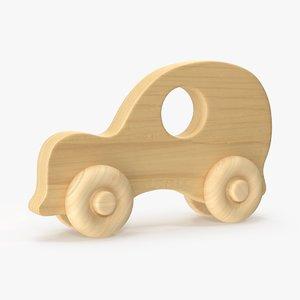 3d model baby wooden car 3