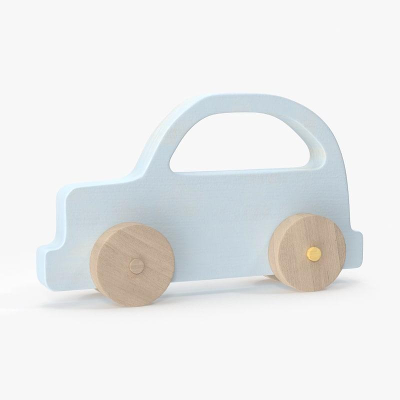 baby wooden car 6 3d model