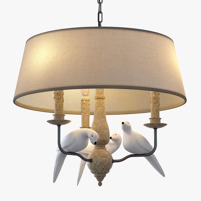 3d model chandelier bird