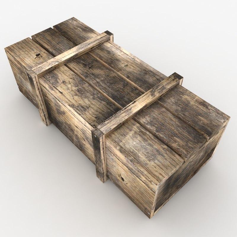 3d model realistic wooden box 02