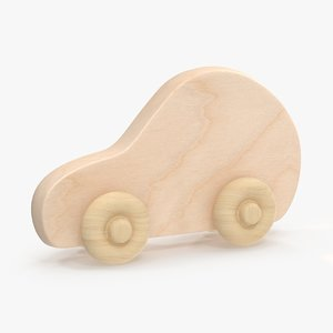 3d model baby wooden car 4