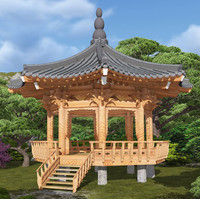 octagonal wooden pavilion 3d model
