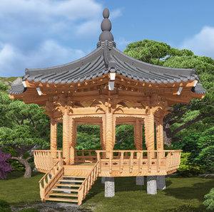 octagonal wooden pavilion 3d model