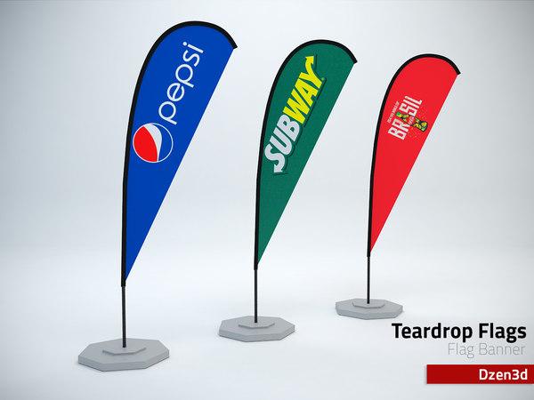 teardrop flag 3d model