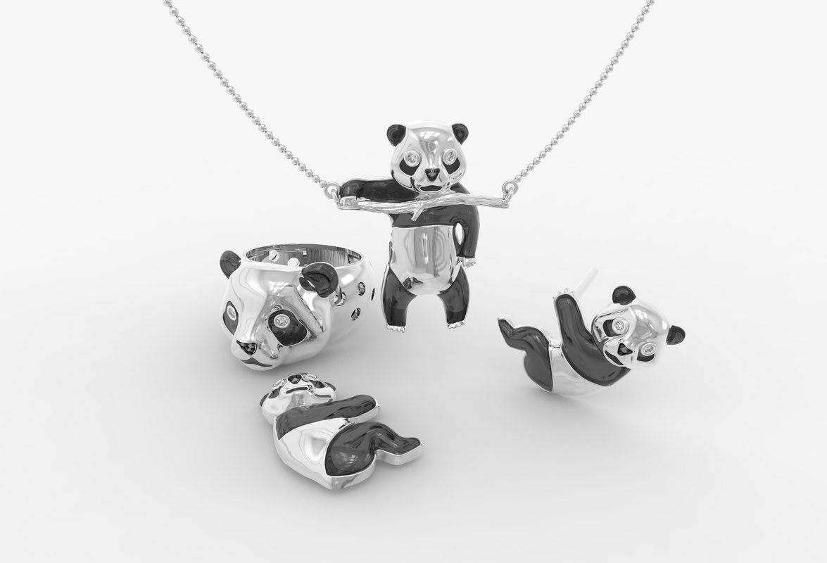 3ds jewelry komplekt panda bear