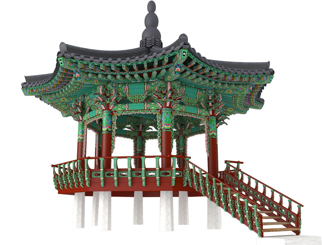 3d model traditional building wooden