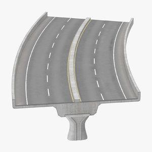 2 lane raised highway 3d c4d