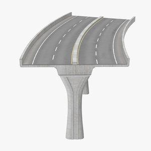 3d 2 lane raised highway model