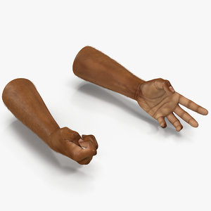 3d model of african man hands 3