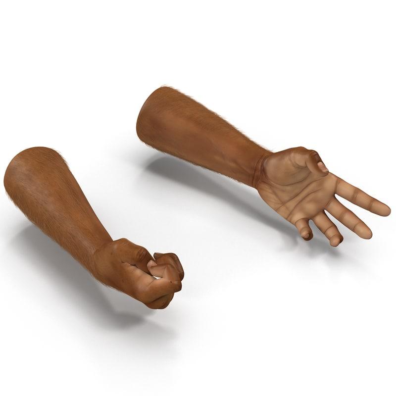 3d model of african man hands 3