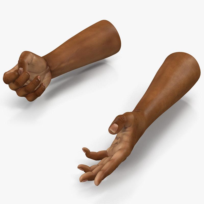 3d african man hands 3